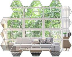 Wall Stickers 3D 12/36PCS Mirror Hexagon Removable Decal Hom