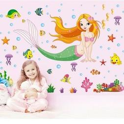 Wall Stickers Mermaid Pattern Removable Decals Kids Baby Roo