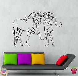 Wall Stickers Vinyl Decal Girl And Horse Modern Abstract Bed