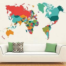 Wall World Map Wall Decal Sticker Coloful Map Art Home Decor