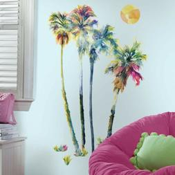 RoomMates Watercolor Palm Trees Peel and Stick Giant Wall De