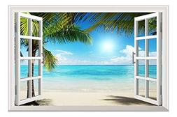 Wall26 White Sand Beach with Palm Tree Open Window Wall Mura