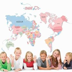 World Map Removable Decals Bedroom Kids room Wall Stickers P