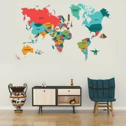World Map Removable Wall Decals Bedroom Kids room Wall Stick