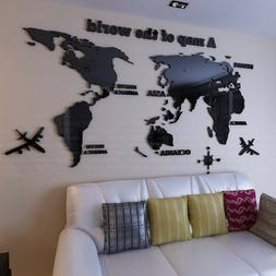World Map Wall Stickers 3D Crystal Acrylic Living Room Sofa